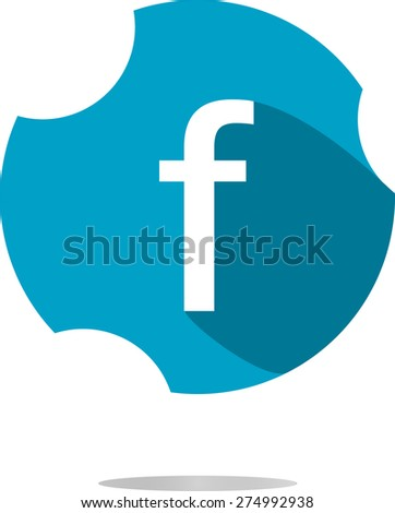 Letter F like facebook vector flat icon with long shadow. Blue and white colors - stock vector