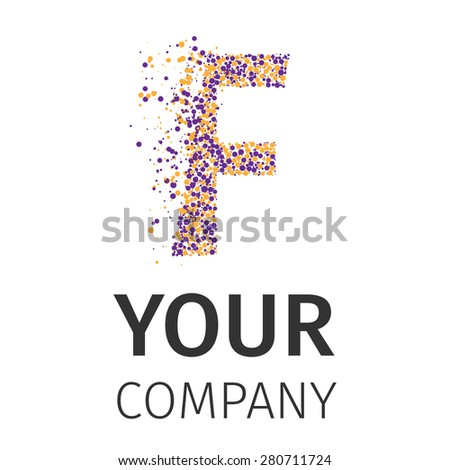 Letter F logo. Alphabet particles logotype vector design. Excellent vector illustration, EPS 10 - stock vector