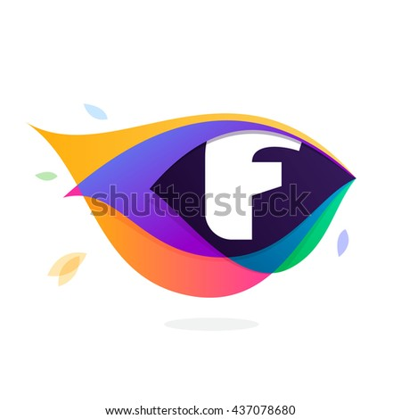 Letter F logo in peacock feather icon. Multicolor vector alphabet letters for app icon, corporate identity, card, labels or posters. - stock vector