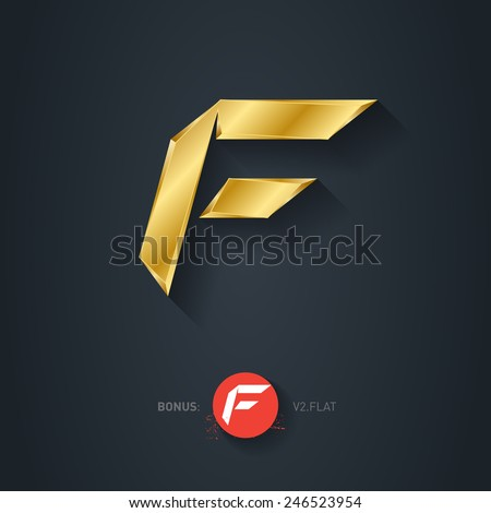 Letter F, Vector gold font. Elegant Template for company logo. Metallic Design element or icon. Pseudo origami style, including flat version. - stock vector