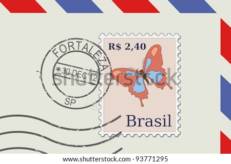 Letter from Brazil - postage stamp and post mark from Fortaleza. Brazilian mail. - stock vector