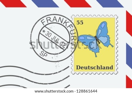 Letter from Germany - postage stamp and post mark from Frankfurt. German mail. - stock vector