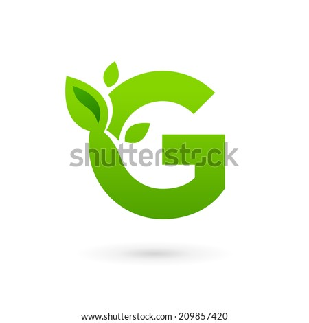 Letter G eco leaves logo icon  G Logo Green