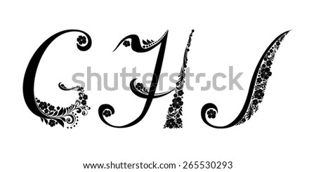 Letter G H I Isolated On White Romantic Of Beautiful Flowers