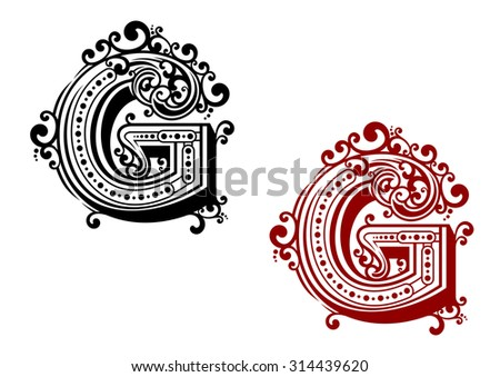 Letter G in uppercase font adorned by ornamental flourishes and calligraphic decorative elements for monogram or certificate design - stock vector
