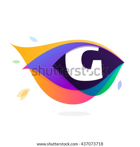 Letter G logo in peacock feather icon. Multicolor vector alphabet letters for app icon, corporate identity, card, labels or posters. - stock vector