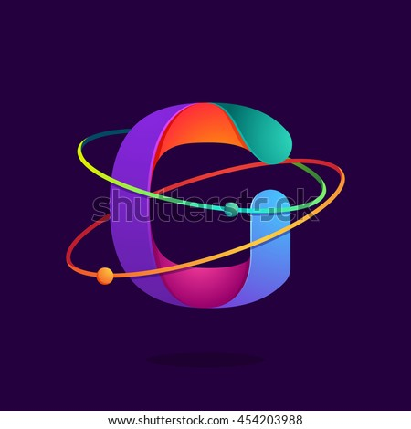 Letter G logo with atoms orbits lines. Bright vector design for science, biology, physics, chemistry company. - stock vector