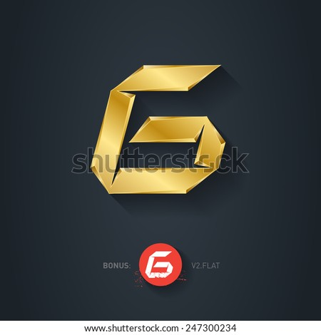 Letter G, Vector gold font. Elegant Template for company logo. 3d Metallic Design element or icon. Pseudo origami style, including flat version. - stock vector