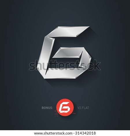 Letter G, Vector silver font. Elegant Template for company logo. Metallic Design element or icon. Pseudo origami style, including flat version. - stock vector