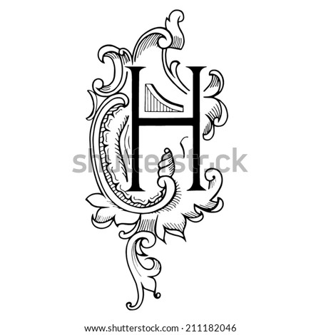 Letter H C In The Style Of Abstract Floral Pattern On A White Background