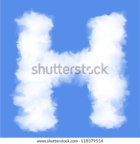 Letter H cloud shape - stock vector