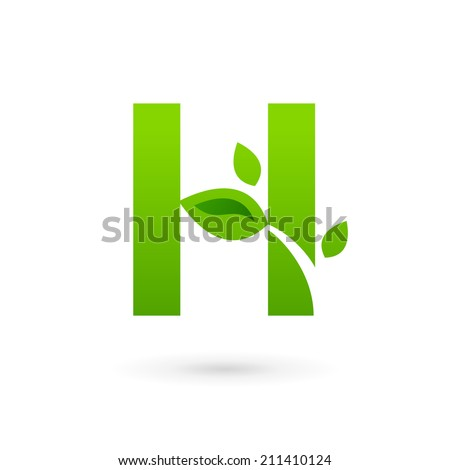 Letter H eco leaves logo icon design template elements. Vector color sign. - stock vector