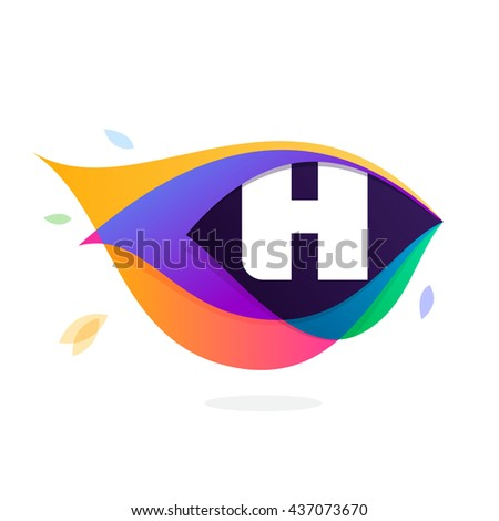 Letter H logo in peacock feather icon. Multicolor vector alphabet letters for app icon, corporate identity, card, labels or posters. - stock vector