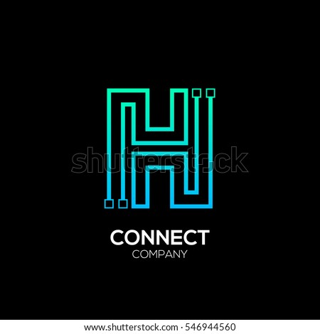 Letter H Logotype Blue And Green Color,Technology And Digital Abstract Dot  Connection Vector Logo