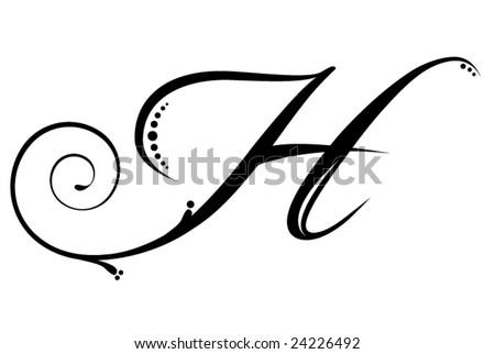 Letter H - Script - stock vector