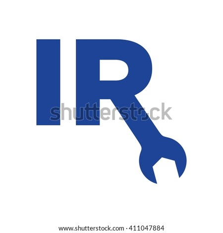letter I and R. wrench symbol. logo vector. - stock vector