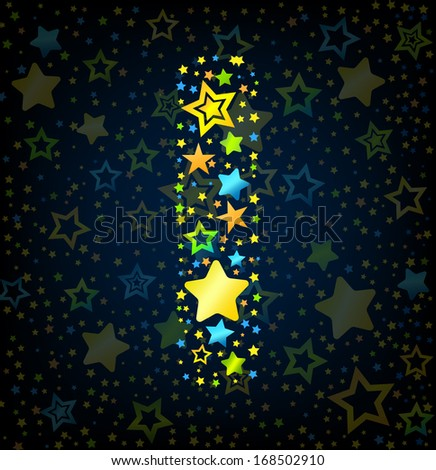 Letter I cartoon kid style vector font with  colored  stars - stock vector
