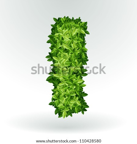 Letter I, green leaves summer vector alphabet. - stock vector