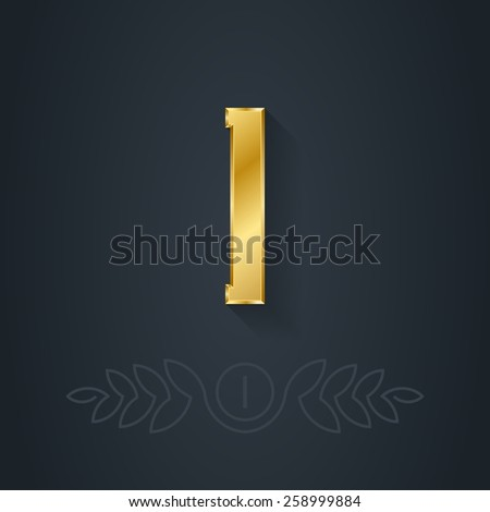 Letter I or number one. Template for company logo with monogram element. 3d Design element or icon. Vector elegant gold font. - stock vector