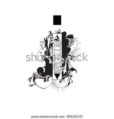 Letter I Ornate Black and White - stock vector