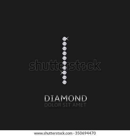 Letter I with gemstones. Luxury Diamond alphabet, Vector illustration - stock vector