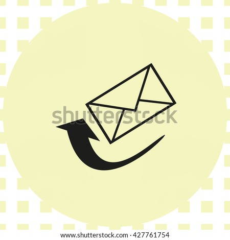 letter icon with arrow, vector illustration
