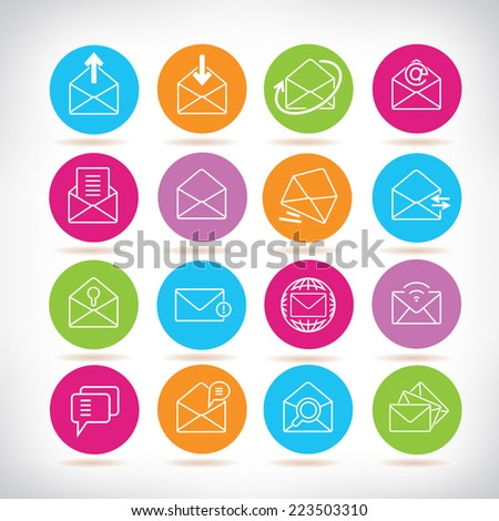 letter icons, colorful circle buttons set - stock vector