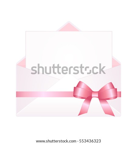 Letter Envelope Decorated Pink Ribbon Bow Stock Vector 553436323