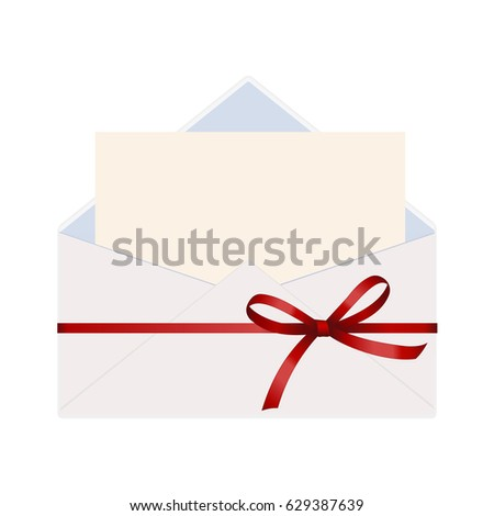 Letter envelope decorated red ribbon bow stock vector 629387639 letter in an envelope decorated with red ribbon bow envelope with clean card stopboris Image collections