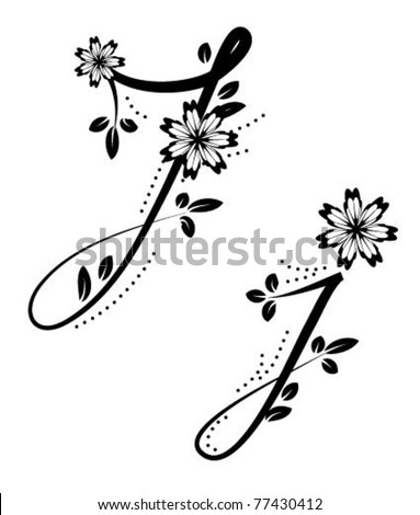 Letter j floral font stock vector for Letter j tattoo
