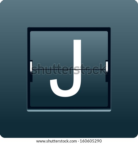 Letter J from mechanical scoreboard. Vector - stock vector