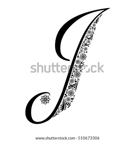 Letter J Isolated On White Romantic Of Beautiful Snowflake Pattern