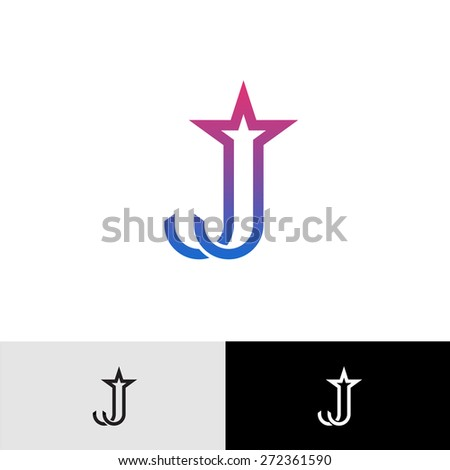 Letter J linear logo with star shape at top. Shooting star firework tail. - stock vector