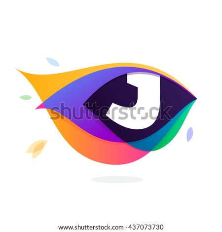 Letter J logo in peacock feather icon. Multicolor vector alphabet letters for app icon, corporate identity, card, labels or posters. - stock vector