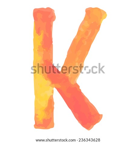 Letter  K Colorful watercolor aquarelle font type handwritten hand draw doodle abc alphabet letters Vector illustration. - stock vector