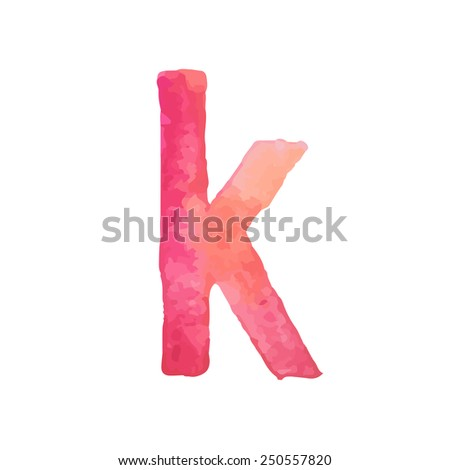 Letter K Colorful watercolor aquarelle font type handwritten hand draw doodle abc alphabet letters Vector illustration - stock vector