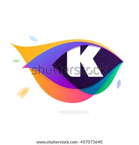 Letter K logo in peacock feather icon. Multicolor vector alphabet letters for app icon, corporate identity, card, labels or posters. - stock vector