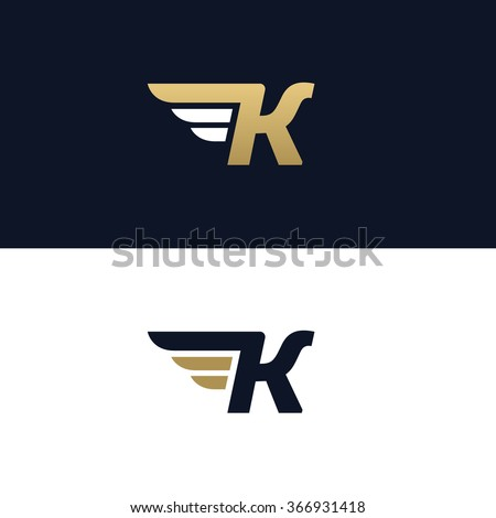 K Logo Images Letter K logo template. Wings design element vector illustration ...