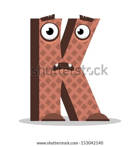 Letter K Monster, vector illustration - stock vector