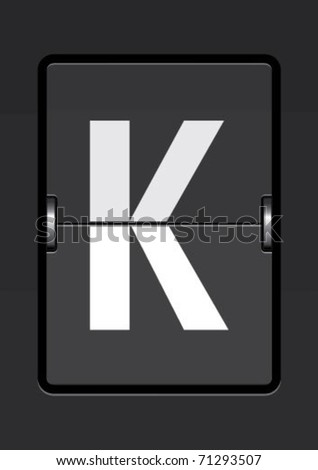 letter k  on a mechanical timetable - stock vector