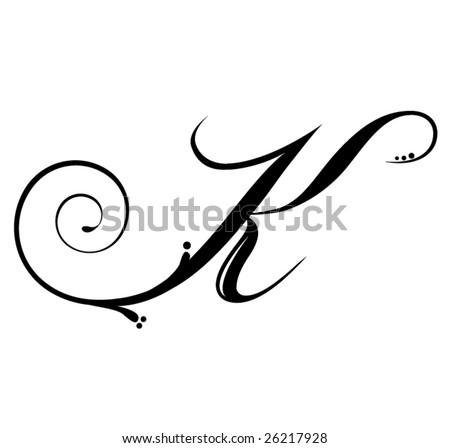 Letter K - Script - stock vector