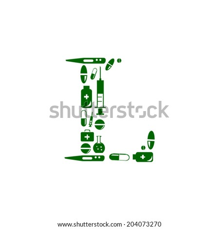 Letter L, alphabet of medicine pills - stock vector
