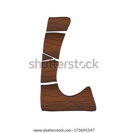 Letter L from wood isolated on the white. Vector