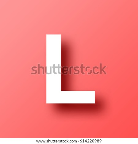Letter L Isolated On Red Background With Shadow. Vector Illustration, Easy  To Edit.