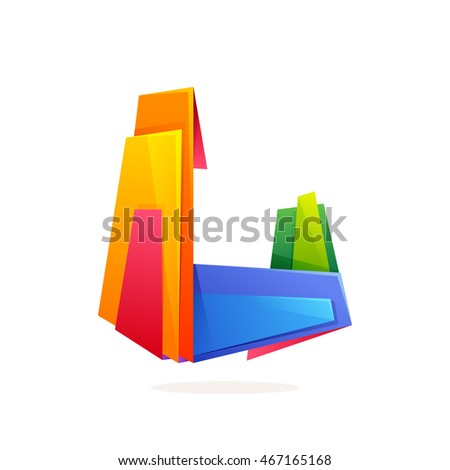 Letter L logo in low poly style. Multicolored vector design for presentation, web page, app icon, card, labels or posters.