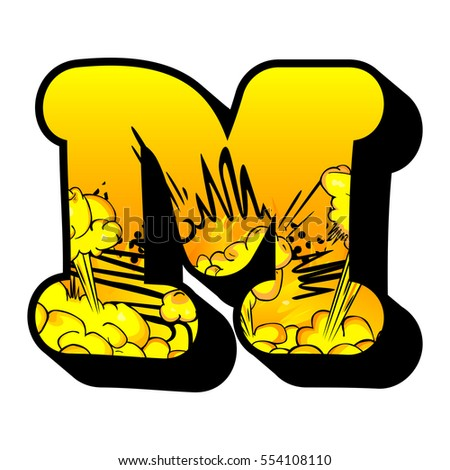 Letter M Filled With Comic Book Explosion Background