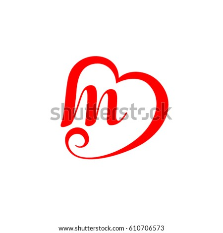 Letter M Heart Wedding Logo Stock Vector 610706573 ...