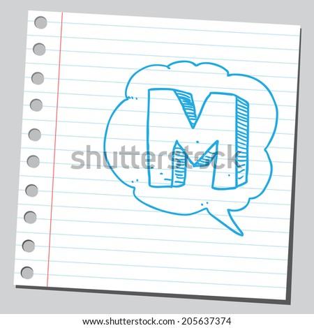 Letter M in comic bubble  - stock vector