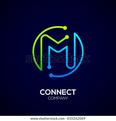 letter m logo circle shape symbol stock vector 610262069