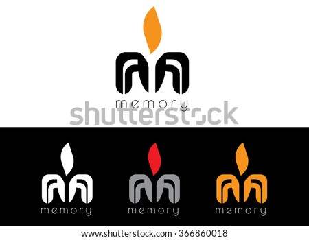 Letter M logo icon design template elements. Creative design icon. Stylized candle flame, symbol memory. - stock vector
